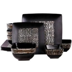Best Dinnerware Set Options: Elama Square Stoneware Pattern Dinnerware Dish Set