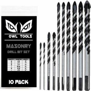 用于混凝土选项的最佳钻头:猫头鹰工具10件砌体钻头设置