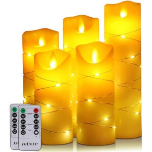 The Best Flameless Candles Options: flameless Candle, with Embedded String Lights