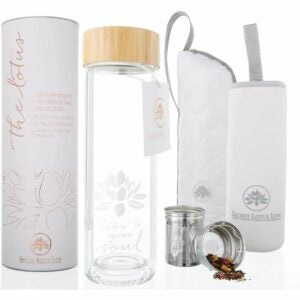 The Best Glass Water Bottle Options: The Lotus Glass Tea Tumbler Travel Mug with Strainer