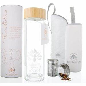 最好的玻璃水瓶选项:莲花玻璃茶杯杯子旅行杯用过滤器