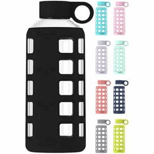 The Best Glass Water Bottle Options: purifyou Premium Glass Water Bottle with Time Marker