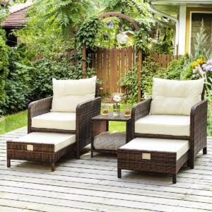 The Best Patio Chairs Options: PAMAPIC 5 Pieces Wicker Patio Furniture Set