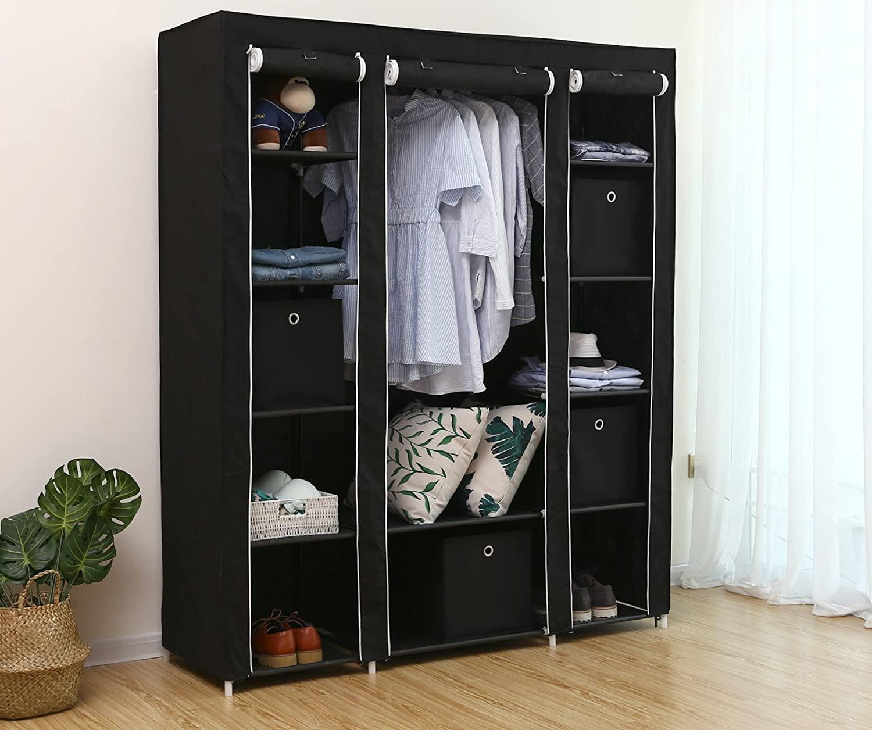 Multi Purpose Non Woven Cloth Wardrobe Dustproof Fabric Closet Portable Folding Moisture Proof Clothing Storage Cabinet,Dark Gray