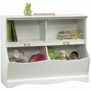 最佳玩具盒选择:Sauder Pogo书柜/踏板,柔软的白色饰面