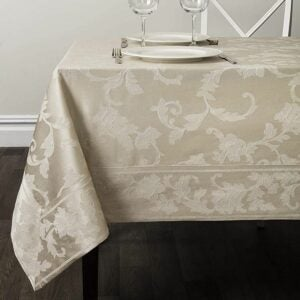 The Best Tablecloths Options: Benson Mills Harmony Scroll Tablecloth (Birch)