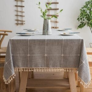 The Best Tablecloths Options: smiry Embroidery Tassel Tablecloth - Cotton Linen