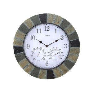 The Best Outdoor Clock Options: Lily's Home Hanging Wall Clock Thermometer Hygrometer