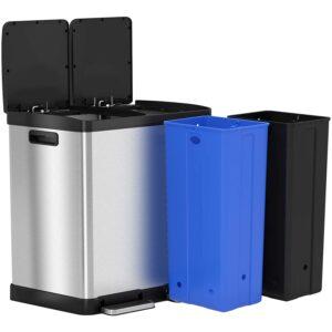 最好的垃圾桶可以选择:无巧克力16加仑双步垃圾桶可以回收垃圾箱