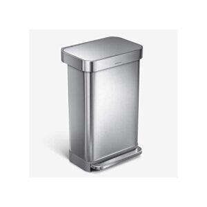 最好的垃圾桶选择:简单的人类45升矩形免提厨房