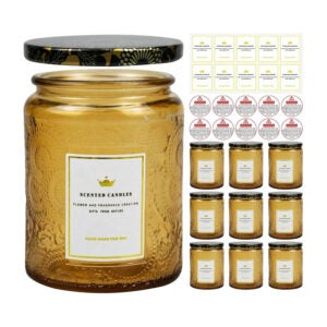 The Best Candle-Making Kit Option: Creahaus 8.8OZ Embossed Glass Candle Jars