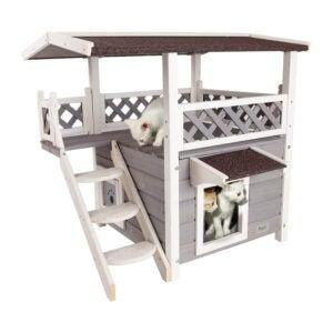 最佳猫庇护所:Petsfit 2层防水户外猫屋