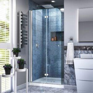 最佳无框淋浴门选择:梦幻水折叠式淋浴门,33.5英寸宽x 72英寸高