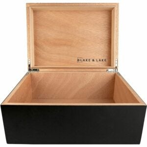 The Best Photo Storage Boxes Options: Blake & Lake Large Wooden Box with Hinged Lid
