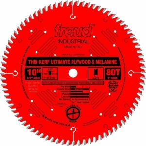 "The Best Saw Blade For Cutting Laminate Flooring Options: Freud 10"" x 80T Thin Kerf Ultimate Plywood & Melamine"