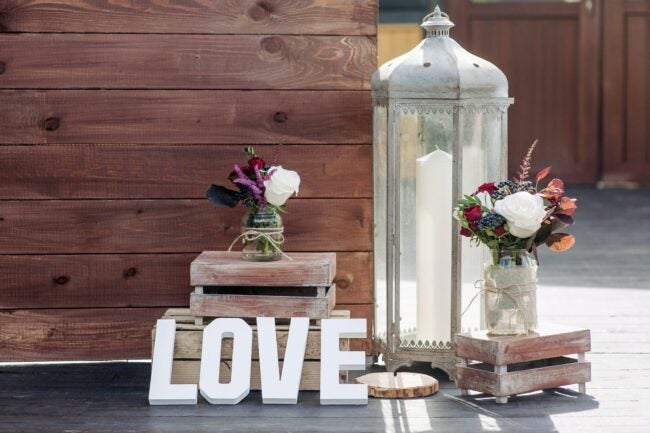 Wedding decorations with word Love