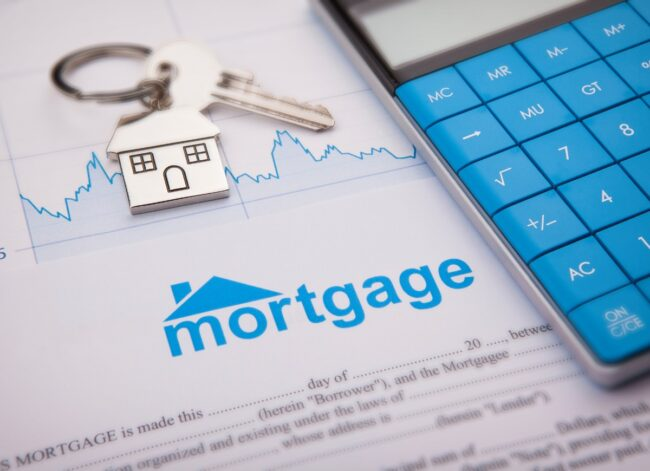 an-empty-mortgage-application-form-with-house-key-picture-id1133438028
