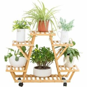 The Best Indoor Plant Stands Option: COPREE Bamboo Rolling 6 Tier Plant Stand Rack