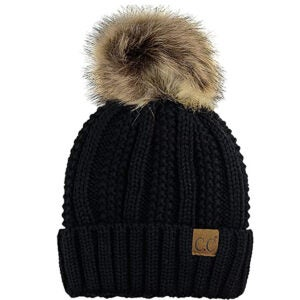 Best Winter Hats Options: C.C Thick Cable Knit Faux Fuzzy Fur Pom Fleece