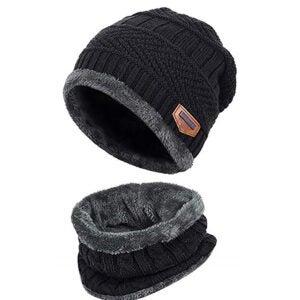 Best Winter Hats Options: Winter Beanie Hat Scarf Set Fleece Liner