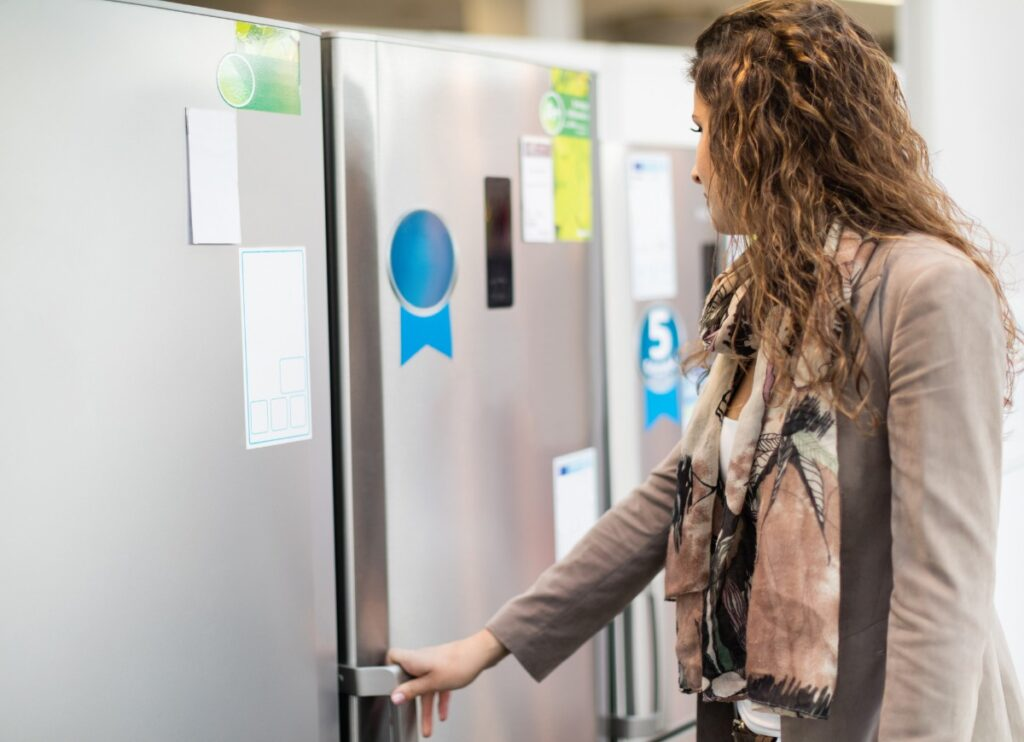 choosing-refrigerator-in-a-store-picture-id499631504