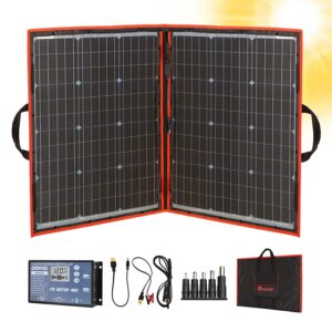 最佳便携式太阳能电池板选项:Dokio 100W 18V便携式可折叠太阳能电池板套件