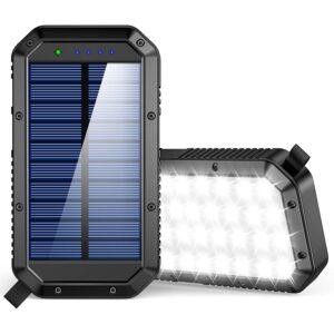 最好的便携式太阳能电池板选择:GoerTek太阳能充电器,25000mAh电池太阳能电源