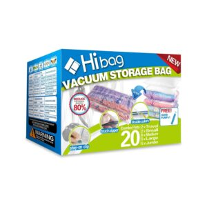 The Best Space Saver Bags Option: Hibag Space Saver Bags, 20 Pack Vacuum Storage Bags