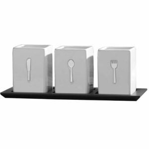 The Best Flatware Organizer Option: Towle Living 3-Piece Ceramic Caddy with Wood Tray
