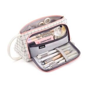 最好的铅笔盒选择:东希尔大容量彩色帆布收纳袋