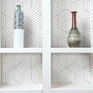 The Best Peel And Stick Wallpaper Option: RoomMates Metallic Silver Striped Hexagon