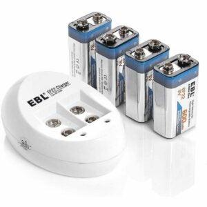 最好的9V电池选项:EBL 4-Pack 9V电池Li-Ion 9伏可充电