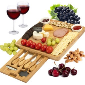Best Cheese Board Options: CTFT Cheese Board and Knife Set Bamboo Charcuterie Platter