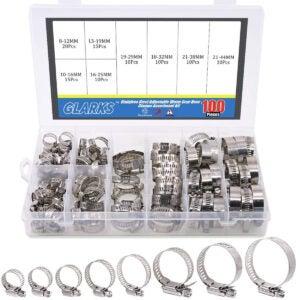Best Hose Clamps Options: Glarks 100Pcs Adjustable 8-44mm Range