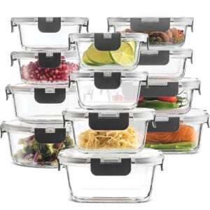 Best Meal Prep Containers Options: 24-Piece Superior Glass Food Storage Containers Set