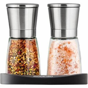 The Best Salt And Pepper Shakers Option: Modetro Salt and Pepper Shakers with Silicon Stand