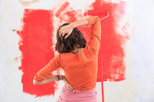 splotchy red paint on wall