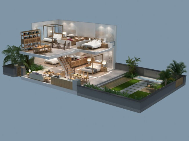 3d illustration of isometric view of a villa