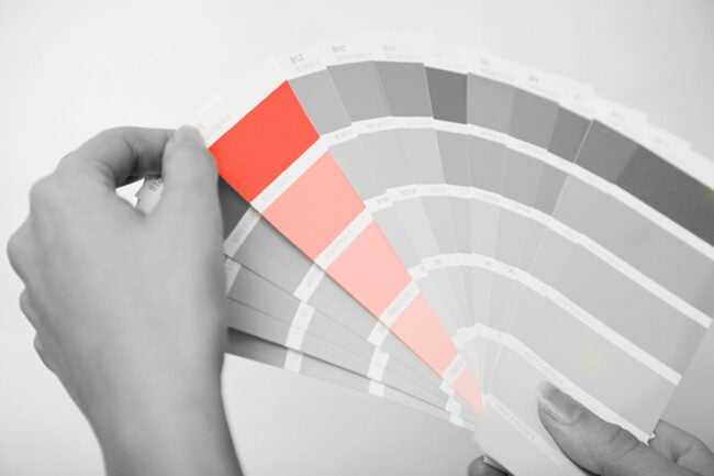 red paint chip in paint color deck