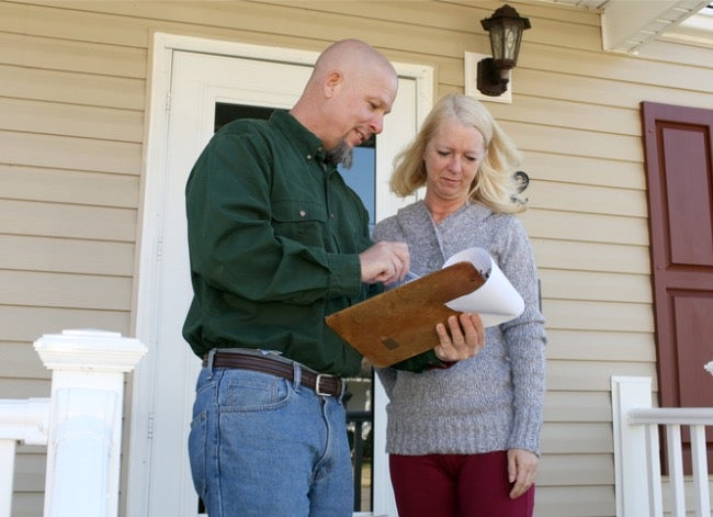 home inspector with homeowner