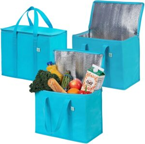 Best Reusable Produce Bags Options: 3 Pack Insulated Reusable Grocery Bag