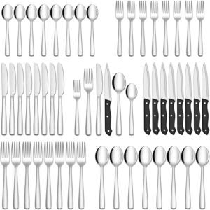 The Best Flatware Sets Option: Hiware 48-Piece Silverware Set with Steak Knives