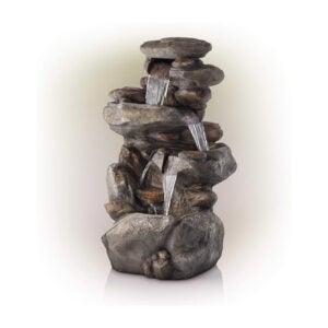 最好的草坪饰品选项:高山公司4层岩石喷泉