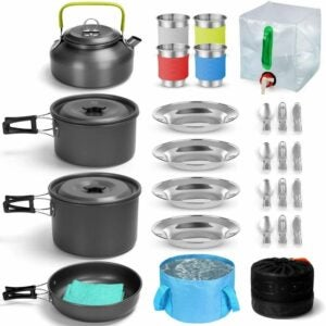 最好的野营炊具选项:Odoland Camping Cookware Mass Kit