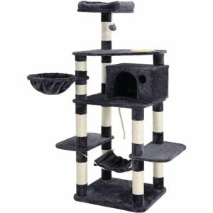 The Best Cat Tree Option: FEANDREA 63.8 inch Sturdy Cat Tree with Feeding Bowl