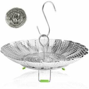 最好的即时锅配件选项:Consevisen蒸笼篮子不锈钢可折叠