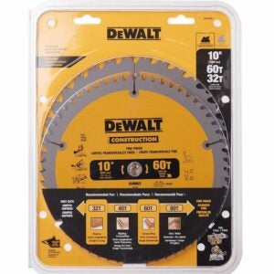 The Best Table Saw Accessories Option: DEWALT 10-Inch Miter / Table Saw Blades, Combo Pack