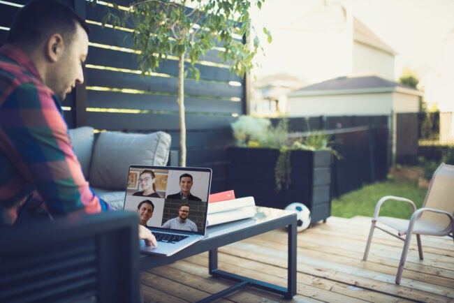 Video conferencing from his backyard