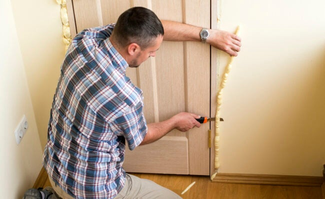 expanding foam insulation around interior door