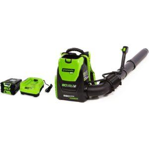 最好的无绳鼓风机选项:GreenWorks 80V 145mph  -  580cfm无绳背包